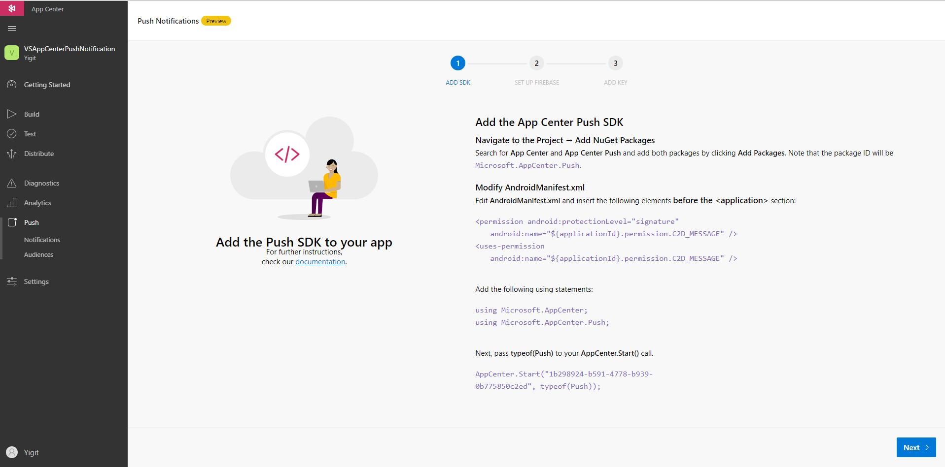 AppCenter Push Notification – Part 1  
